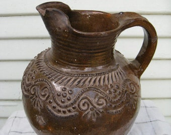 Vintage GUATEMALAN Earth CERAMICS Decorative Pitcher MAYAN Vase Colonial History Ethnic Artifact Central American