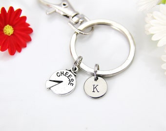 Cheese Charm Keychain, Silver Cheese Charm, Cheese Jewelry, Food Charm, Foodie Gift, Wine Lover Gifts, Personalized Gift, Coworker Gift, K17