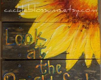"""16"""" X 16""""  #626 Constructed Wood Sunflower Rustic Art sign Original Art"""