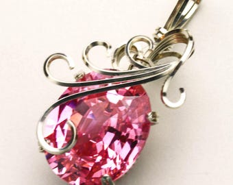 Pink CZ Swirls and Curls Prong Set Silver Filled Wire Pendant