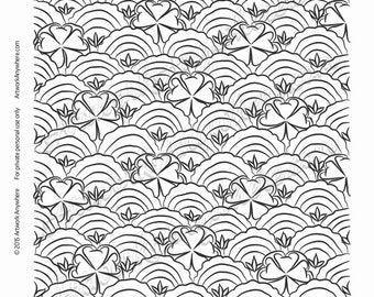 "Japanese Blossoms ""Fish Scale Scalloped Flowers Waves and Leaves"" Adult coloring page printable download from Artwork Anywhere ~hand drawn~"