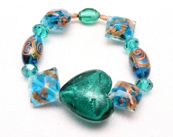 Blue and Copper Lampwork Bracelet, Turquoise and Copper, Artisan Glass, Stretch Bracelet, Heart Lampwork Bead, Heart Bracelet