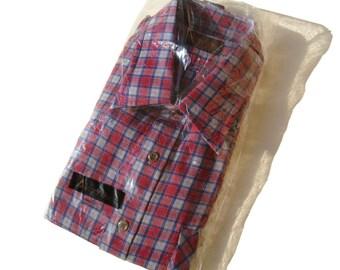 Vintage 80s Shirt Mens Red & Blue Plaid Long Sleeves NOS - L