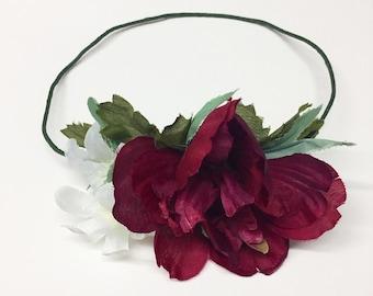 Side Burgandy Peony Flower Crown