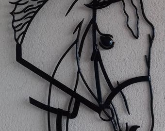 HORSE head made wrought iron handmade exclusively by hand, industrial reclaimed metal