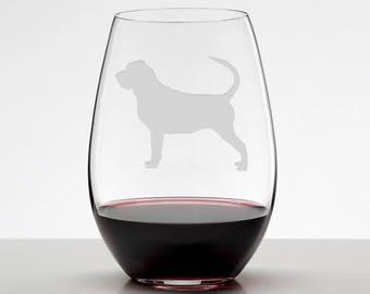 Blood Hound Etched Stemless Wineglass, Blood Hound Gift