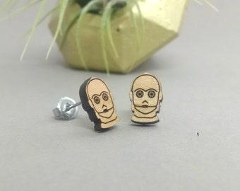 Star Wars C-3PO Earrings - Laser Engraved Alder Wood - Titanium Post Earring Pair - C3PO R2D2