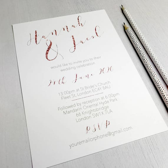 Rose gold wedding invitations, Mint green wedding invitations, Rose gold wedding invites, Glitter wedding invites, Wedding cards suite A5