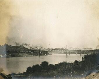vintage photo 1909 Kevington Kentucky Steam Train on Bridge over River