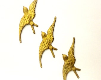 6 Pieces Flying Sparrow Bird Finding, Raw Brass, Vintage, 36x14mm