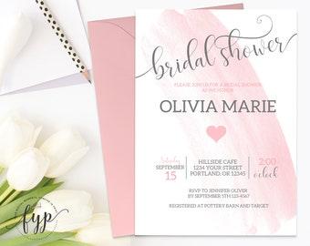 Watercolor Bridal Shower Invitation Watercolor Bridal Invite