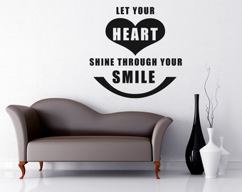 Vinyl Wall Decal Sticker Heart Through Smile Quote OSAA1500m