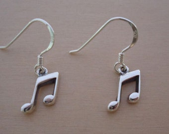 925 Sterling Silver Drop Dangle Music Notes Earrings