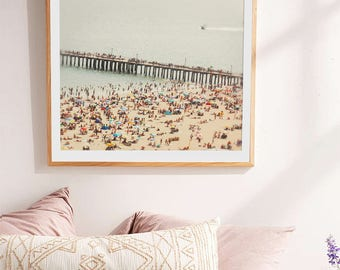 Aerial Beach Photography // Brooklyn Summer // Boardwalk Beach // Beach People Modern Home Art // Modern Beach Print // Beach Photography