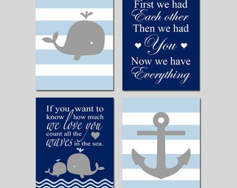 Ocean Nursery Art Ocean Nursery Decor Whale Nursery Art Whale Nursery Decor Nautical Nursery Art Baby Boy Set of 4 Prints CHOOSE YOUR COLORS