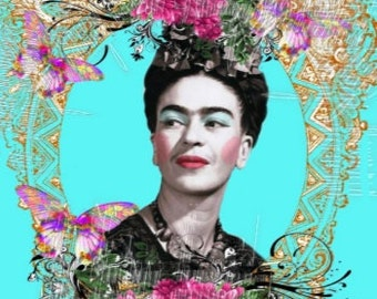 Quilt Fabric Frida Kahlo ALtered Art Mixed Media Collage Crafts Quilts Sewing Home Decor Clothing FK101