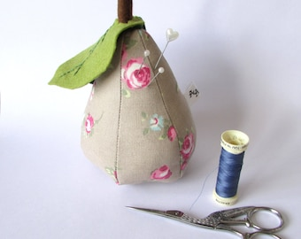 Pear Pin cushion, sewing, home, accessories, dress making, crafts, gifts, Pear, Fabric, Handmade,
