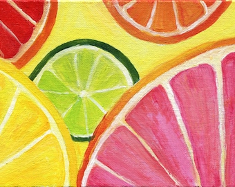 Acrylic painting Citrus colors painting original 5 x 7 Ruby Red Grapefruit, Lemon, Orange Lime acrylic canvas Citrus Art. Kitchen  Decor