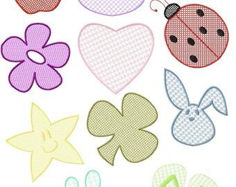 Instant Digital Download 4x4 Machine Embroidery Designs Set Embossed Cat Apple Shamrock Bunny FlipFlops & more