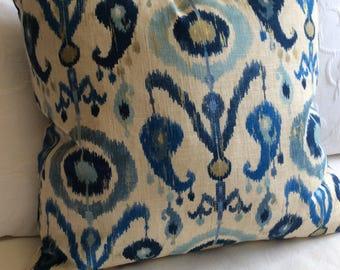 Blues Ikat decorative Pillow Cover 12x20 12x22 18x18 20x20 22x22 24x24 26x26