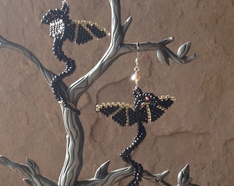 Black and Antique Gold Faerie Dragon Earrings on Sterling Silver French Wires Wear them for a Fantasy Wedding or LARPing or Just for Fun.