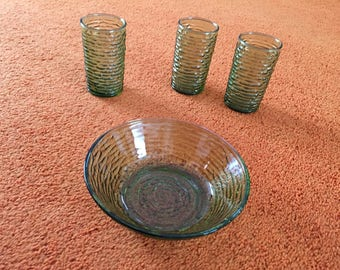 Vintage Anchor Hocking Green Glass Juice Glasses and Cereal Bowl