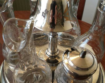Vintage silver plate cruet set 6 piece with working Butler's Bell
