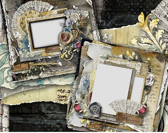 Quick Pages, Scrapbook Pages, Scrapbook Layout, Premade Scrapbook, Digital Scrapbook Quick Pages, Vintage Digital Scrapbooking, Digital Page