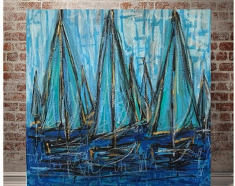 24x24 Abstract Sailboat Painting on Heavy Gallery Wrapped Canvas