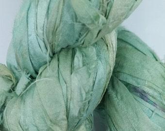 Mint green, Recycled silk sari ribbon,