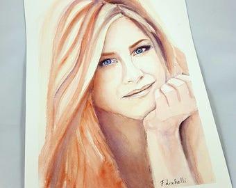Original watercolor, Jennifer Aniston portrait, famous actress, ooak, fans gift idea, wall art, home decoration, living art, lounge art.