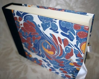 Handbound photo album - marbled sunspots in deep space blue and earthy red, small, studio CLEARANCE price