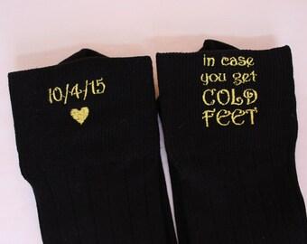 In case you get Cold Feet socks, custom date,Groom Wedding Socks, Formal Socks for Groom, wediding Gift. Tan, brown, grey, black Socks. F21