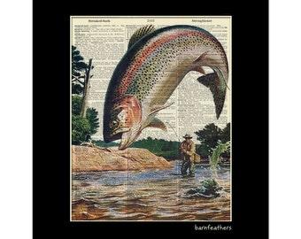Vintage Dictionary Art Print - Fisherman Fly Fishing - Dictionary Page - Book Art Print No. P86