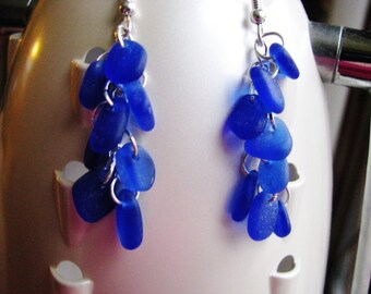 Statement Chandelier Sea Glass Earrings - Cobalt Blue Sea Glass - Long Dangle Earrings