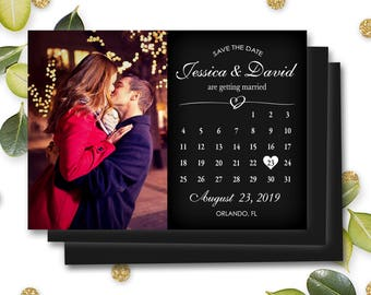 Magnet Save the Date Photo Invitations Mark Calendar Personalized Customizable Fridge Magnet Wedding Marriage Engagement w/ Envelope #MSD7