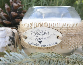 Mountain Forest, 21 oz Soy Candle in a Round Glass Jar, Many Scents to Choose From!  Suitable for Massage!  200 or More Hours of Burn Time!