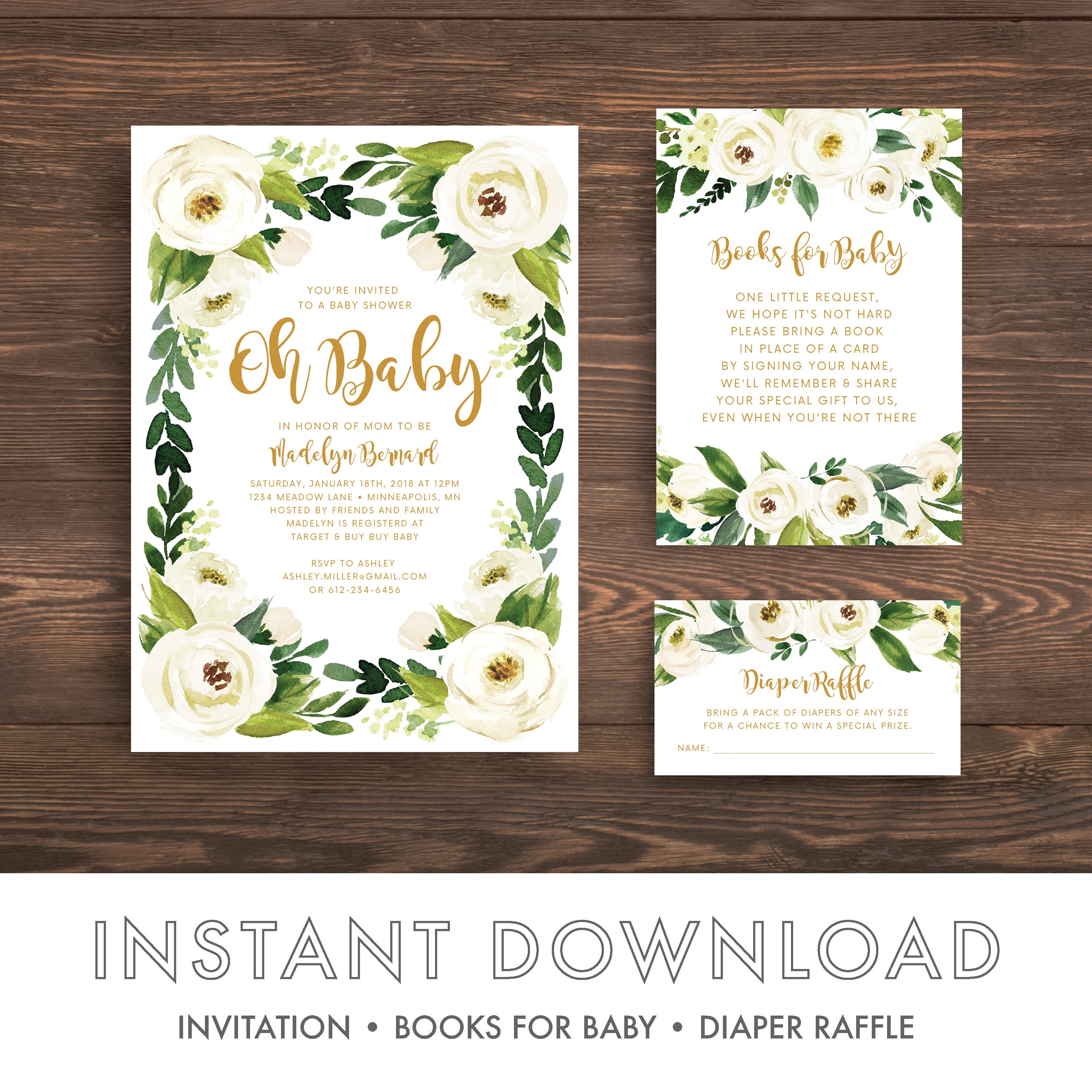 Rustic Baby Shower Invitation Template, Floral Baby Shower ...