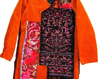 CLEARANCE SALE Vintage redesigned upcycled embroidery jacket: lion, dragon and their toys