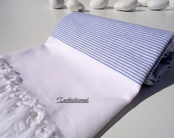 Turkishtowel-Peshtemal-High Quality,Turkish Cotton,Bath,Beach,Spa,Yoga,Pool Towel or Sarong-Sailor Blue Stripes on White