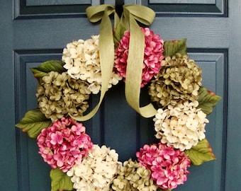 Couronnes de printemps | Couronne d'hortensia | Couronnes de porte d'entrée | Couronnes de printemps pour porte d'entrée | Cadeau de pendaison de crémaillère | Décor de porte
