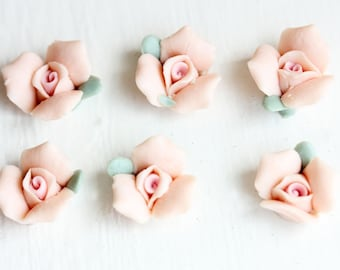 Pink Ceramic Flower Cabochons (6x)
