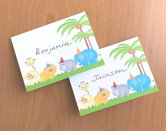 Safari party food tents seating place cards, jungle birthday party baby shower first birthday food labels name cards printandship