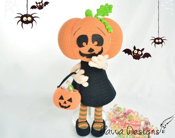 Crochet Pattern - Pumpkin Head Girl (Amigurumi Doll Pattern)