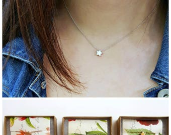 Tiny Star Necklace - Silver Gold or Rose Gold Shining Star Necklace, Bridesmaid Flower Girl Necklace, Dainty Gold Necklace