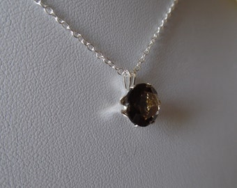 Smokey Quartz and Sterling Silver Pendant