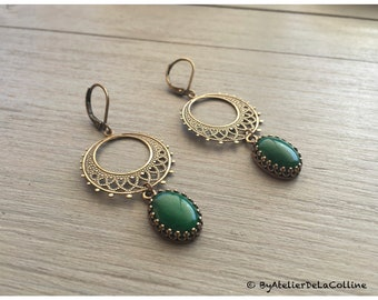 Adele Art Deco earrings with jade cabochon