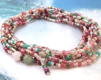 Mint Rose Wrap Bracelet, tropical, beaded wrap, green, pink wrap necklace, gemstone, long, beaded necklace, boho, quartz, seed beads