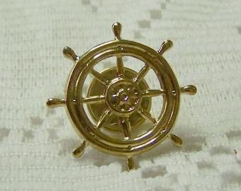 SHIPS WHEEL Lapel Pin - Tie Tack - Steampunk - Gold - Tie Tac - Gold Ships Helm - Nautical Ships's wheel