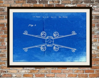Star Wars X Wing Fighter Blueprint Art of The X Wing Fig 3 Technical Drawings Engineering Drawings Patent Blue Print Art Item 0104
